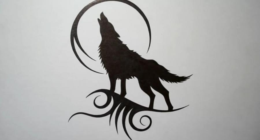 Рисуем татуировку волка - шаг 6