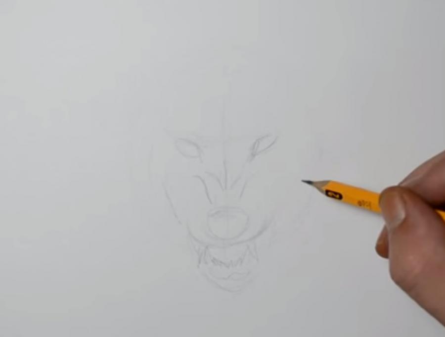 Рисуем татуировку злого волка шаг за шагом - шаг 1