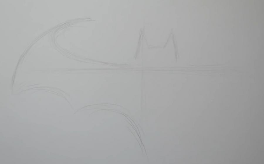 Рисуем знак бэтмена в стиле тату - шаг 1