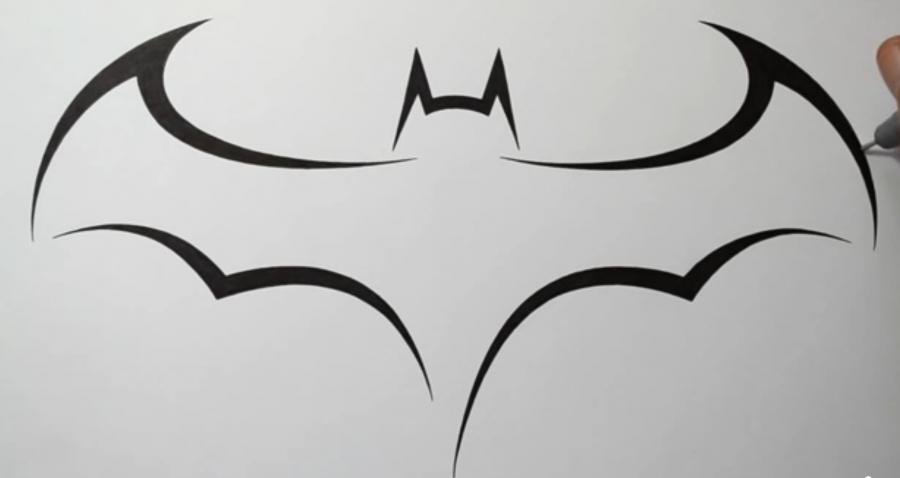 Рисуем знак бэтмена в стиле тату - шаг 5