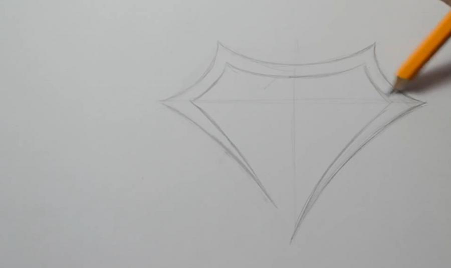 Рисуем знак супермена в стиле тату - шаг 2