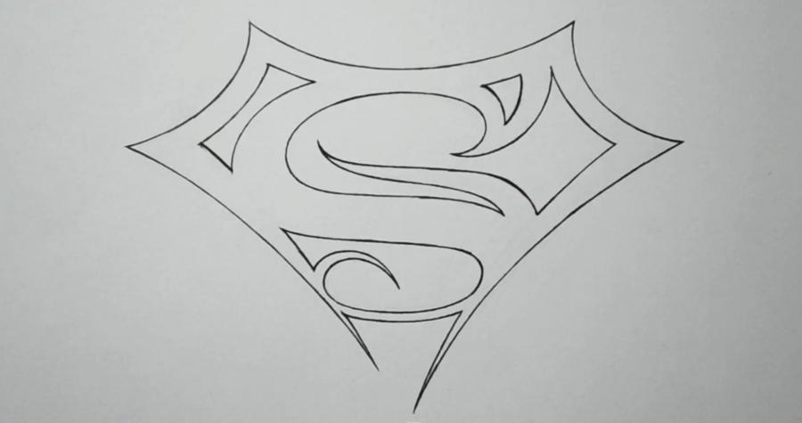 Рисуем знак супермена в стиле тату - шаг 4