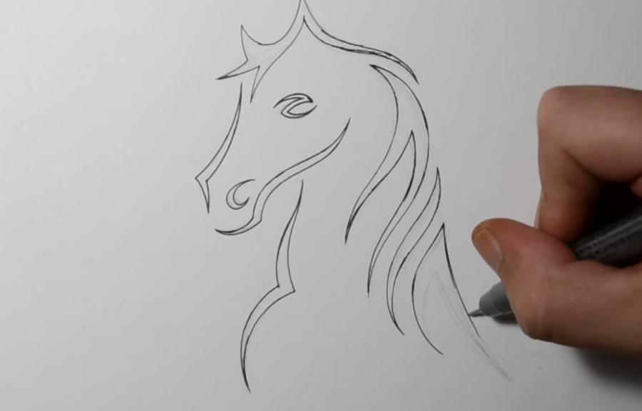 Как научиться рисовать татуировку коня на бумаге шаг за шагом - шаг 3