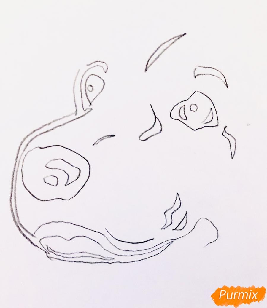 Рисуем собаку породы спаниель в стиле тату - шаг 1