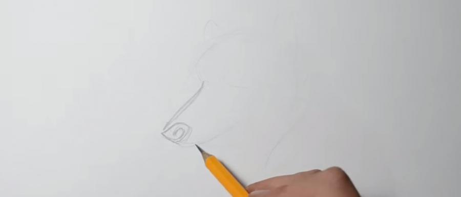 Учимся рисовать голову волка в стиле тату на бумаге - шаг 2