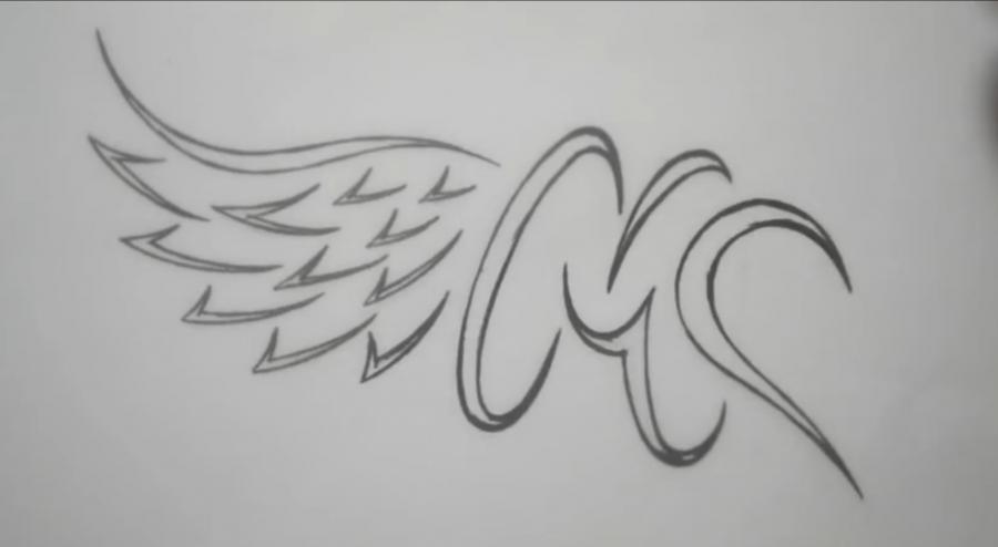 Учимся рисовать слово mom с крыльями и сердцем в стиле тату - шаг 4