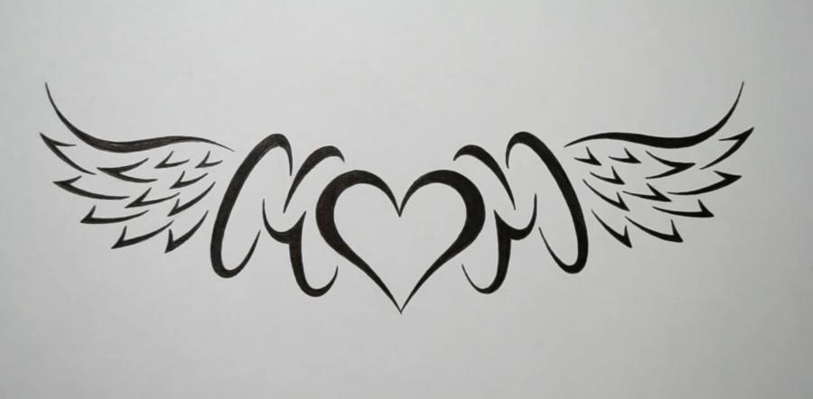 Учимся рисовать слово mom с крыльями и сердцем в стиле тату - шаг 7
