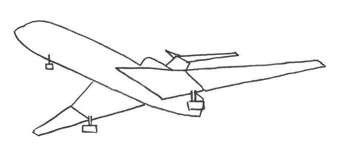 Учимся просто рисовать Самолёт Боинг 727 - шаг 2