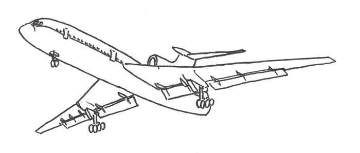 Учимся просто рисовать Самолёт Боинг 727 - шаг 4