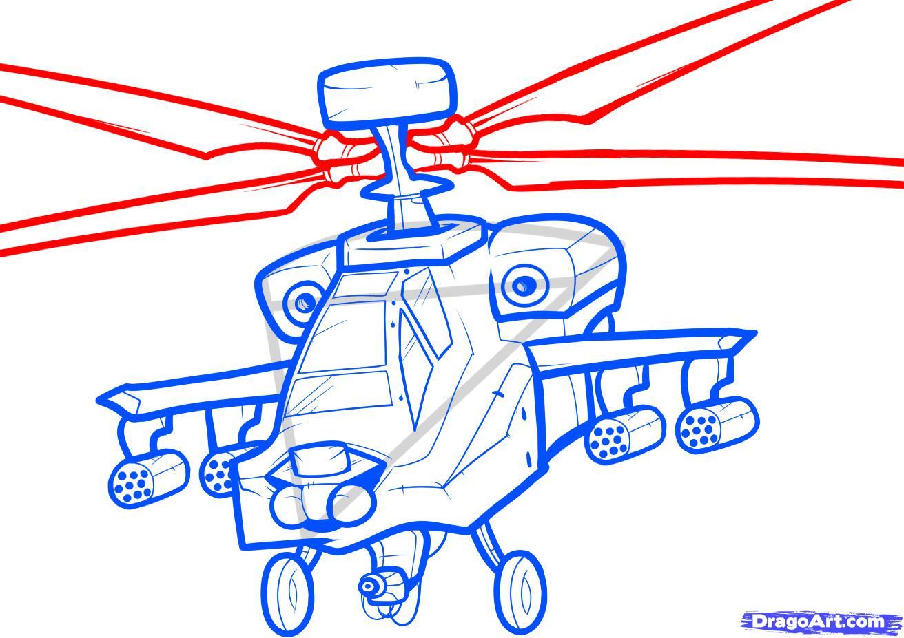 Рисуем вертолет AH-64 Apache - шаг 7