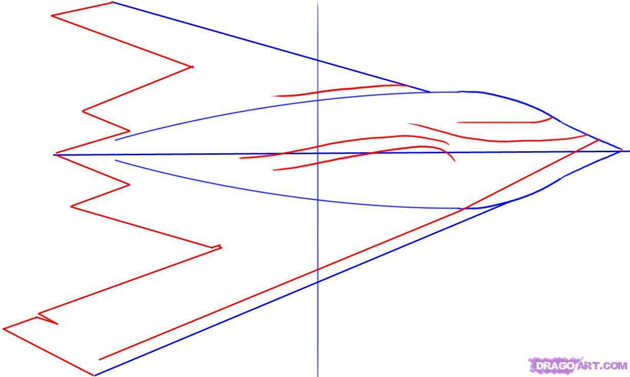 Как нарисовать стелс ( B-2 SpiritStealthBomber) поэтапно
