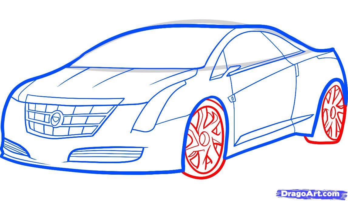 Рисуем автомобиль Кадиллак (Cadillac ELR 2013)
