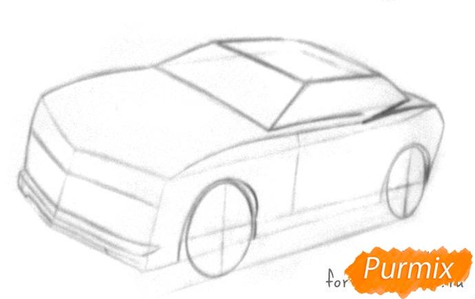 Рисуем Chevrolet Camaro цветными карандашами - шаг 2