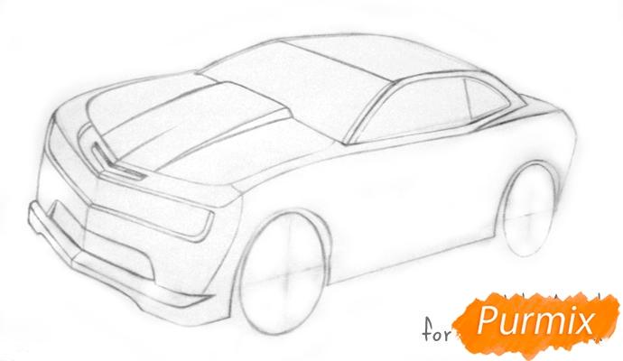 Рисуем Chevrolet Camaro цветными карандашами - шаг 3