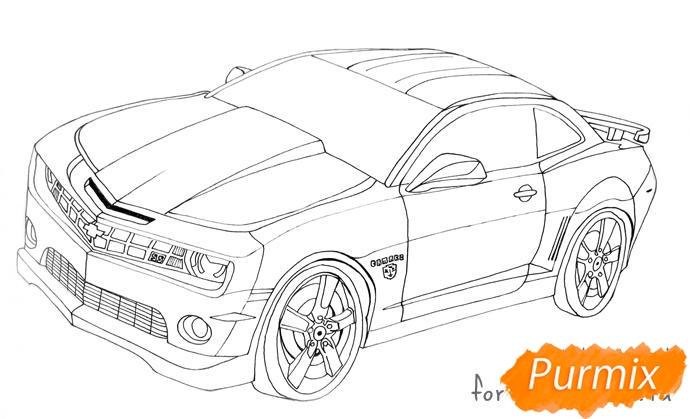 Рисуем Chevrolet Camaro цветными карандашами - шаг 4