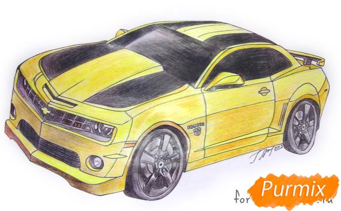 Рисуем Chevrolet Camaro цветными карандашами - шаг 5