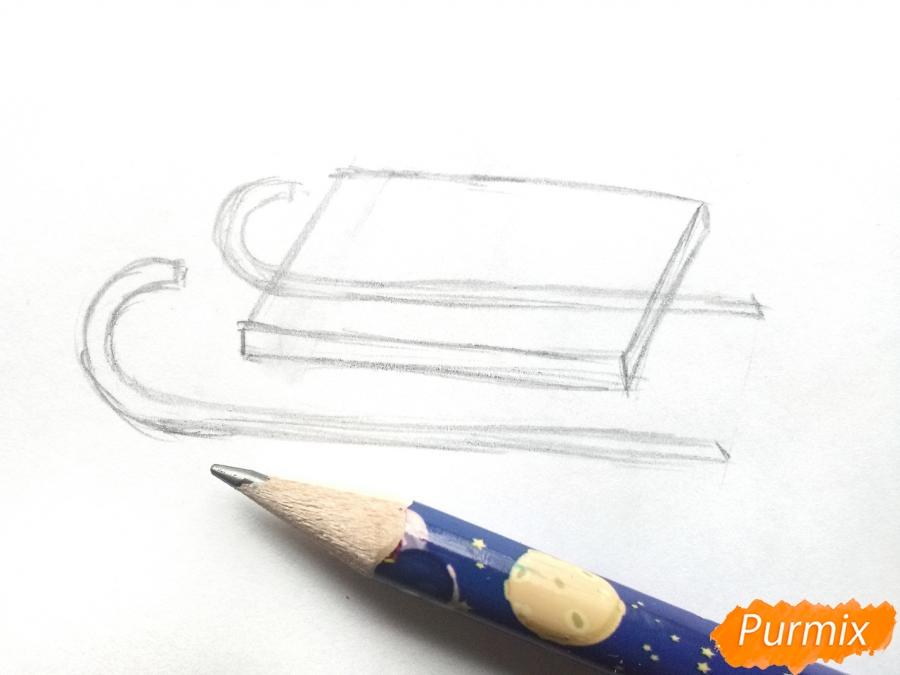 Рисуем санки просто для детей - шаг 2