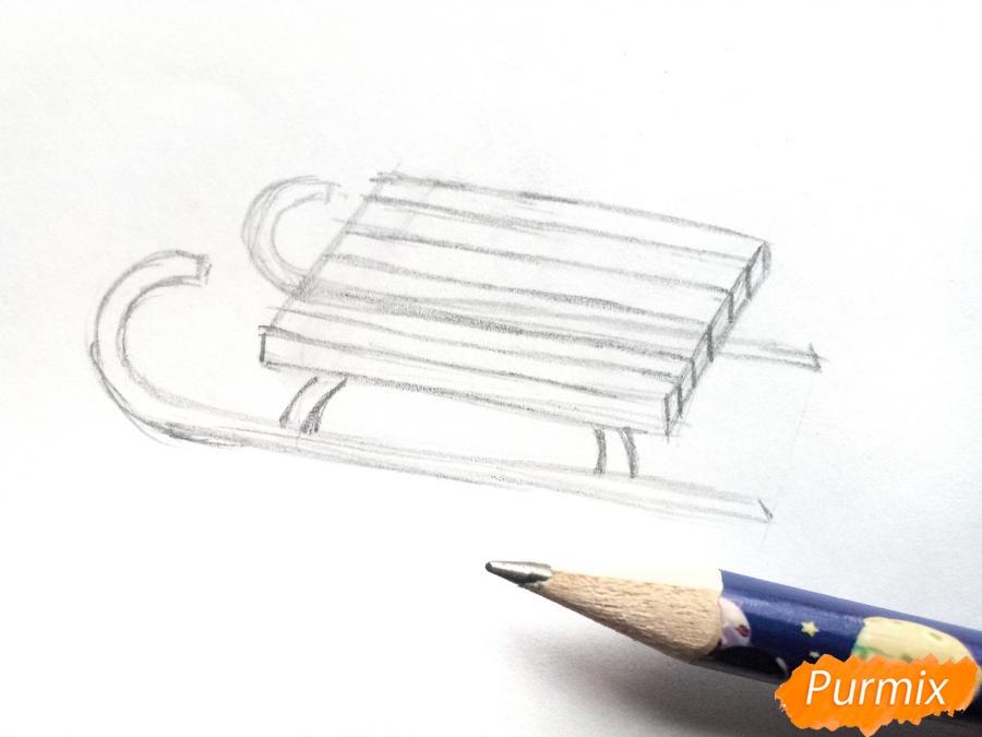 Рисуем санки просто для детей - шаг 3