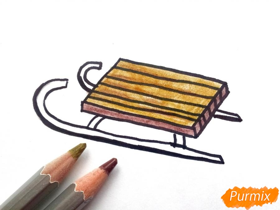 Рисуем санки просто для детей - шаг 5