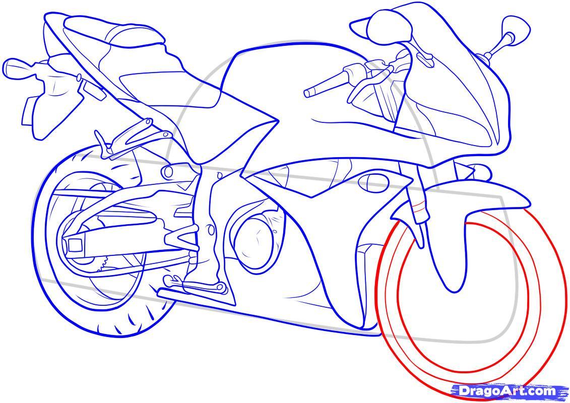 Рисуем мотоцикл - шаг 13