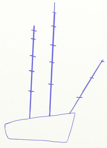 Рисуем большой парусный корабль ручкой - шаг 2