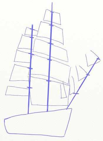 Рисуем большой парусный корабль ручкой - шаг 3