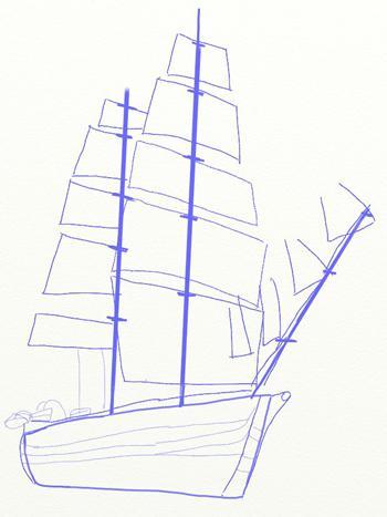 Рисуем большой парусный корабль ручкой - шаг 4