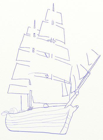 Рисуем большой парусный корабль ручкой - шаг 5