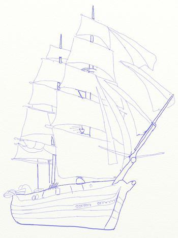 Рисуем большой парусный корабль ручкой - шаг 6