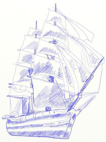 Рисуем большой парусный корабль ручкой - шаг 7