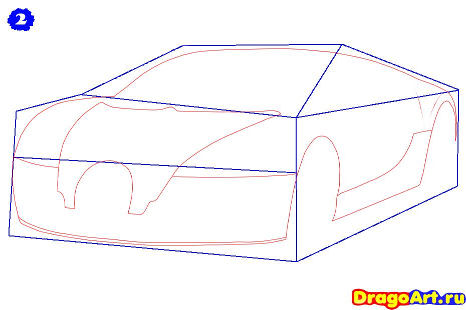 Рисуем машину бугатти - шаг 2