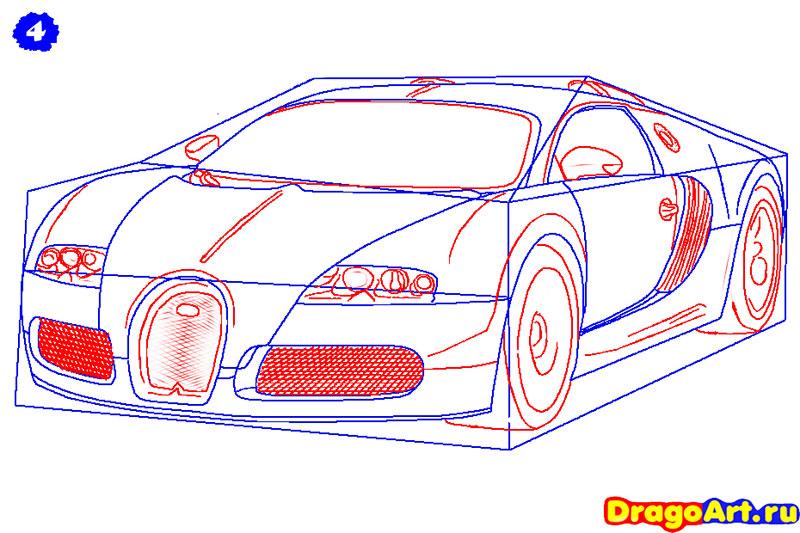 Рисуем машину бугатти - шаг 4