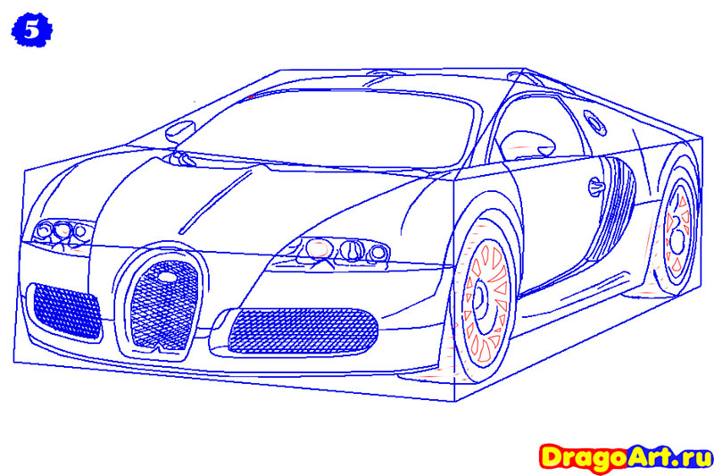 Рисуем машину бугатти - шаг 5