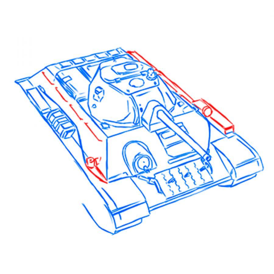 Рисуем советский средний танк Т-34 из World of Tanks - шаг 12
