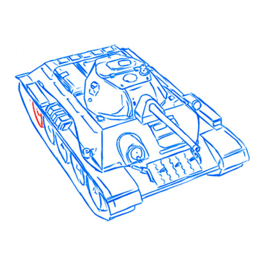 Рисуем советский средний танк Т-34 из World of Tanks - шаг 15