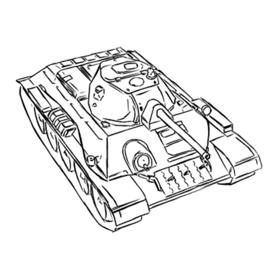 Рисуем советский средний танк Т-34 из World of Tanks - шаг 16