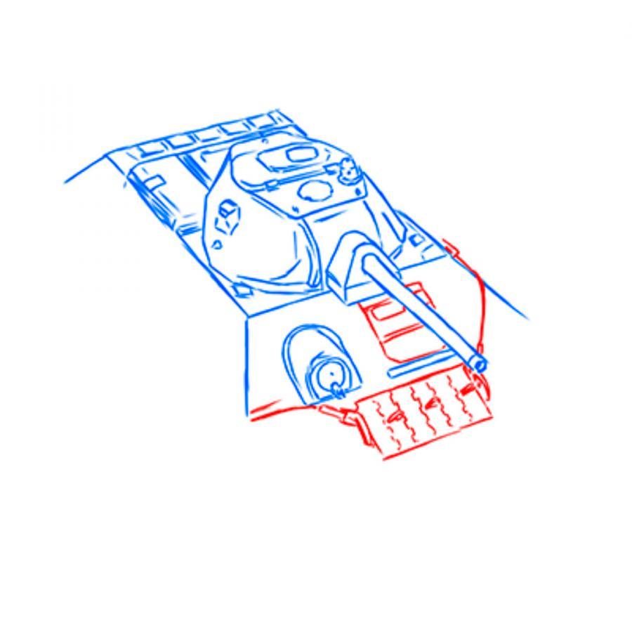 Рисуем советский средний танк Т-34 из World of Tanks - шаг 8