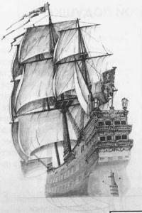 корабль Галеон карандашом