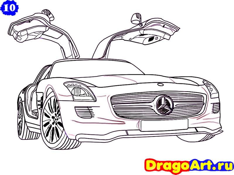 Как нарисовать автомобиль Mercedes-Benz карандашом поэтапно