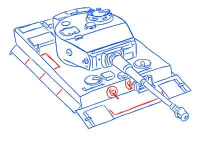 Рисуем немецкий тяжелый танк Тигр из World of Tanks - шаг 10