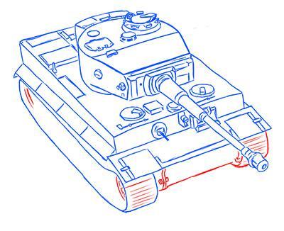 Рисуем немецкий тяжелый танк Тигр из World of Tanks - шаг 11