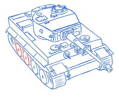 Рисуем немецкий тяжелый танк Тигр из World of Tanks - шаг 12