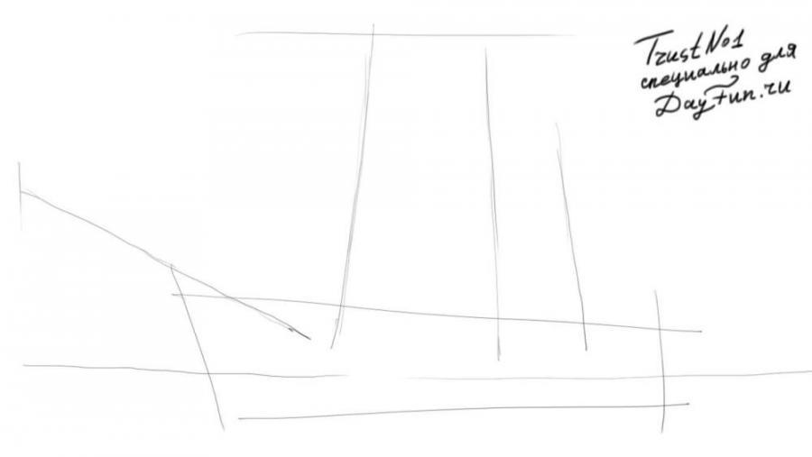 Рисуем парусный корабль - шаг 1