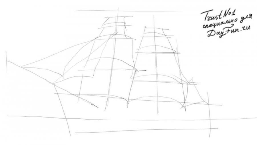 Рисуем парусный корабль - шаг 2