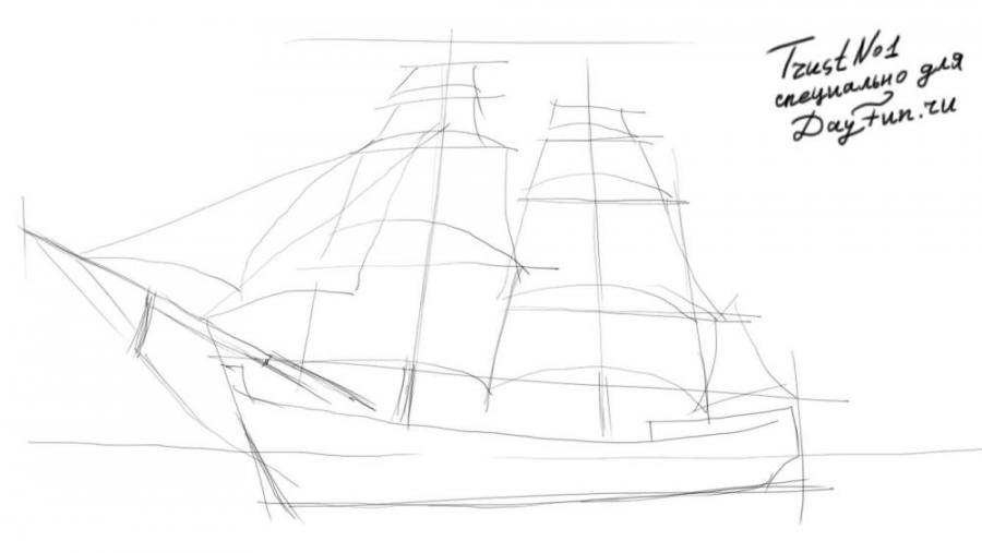 Рисуем парусный корабль - шаг 3