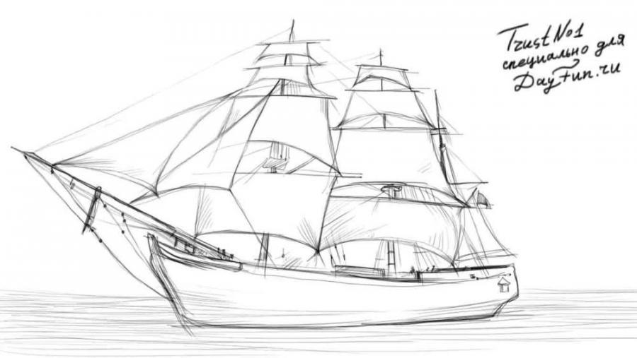 Рисуем парусный корабль - шаг 4