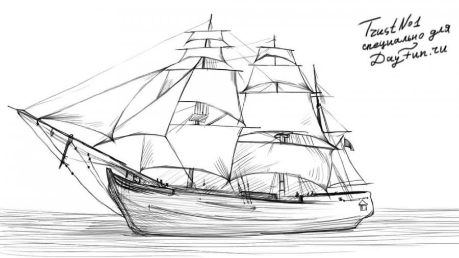 Рисуем парусный корабль - шаг 5