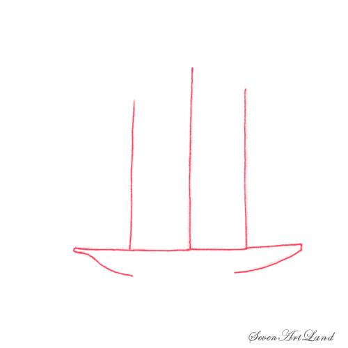 Рисуем парусное судно Бригантина - шаг 1