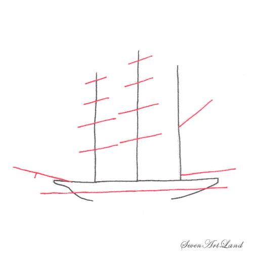Рисуем парусное судно Бригантина - шаг 2