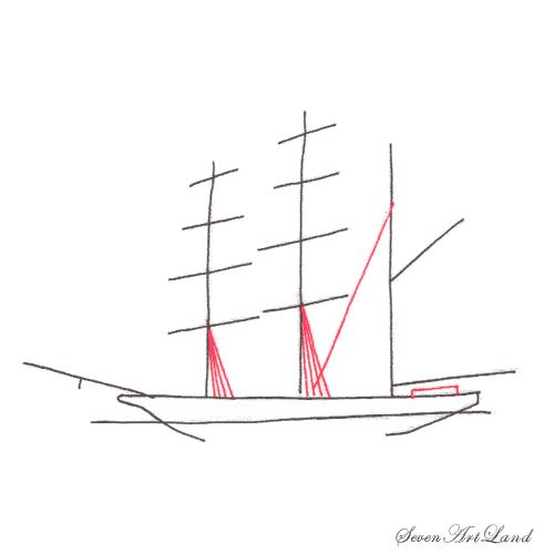 Рисуем парусное судно Бригантина - шаг 3